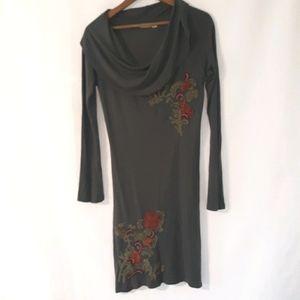 Caite boho embroidered cowlneck dress